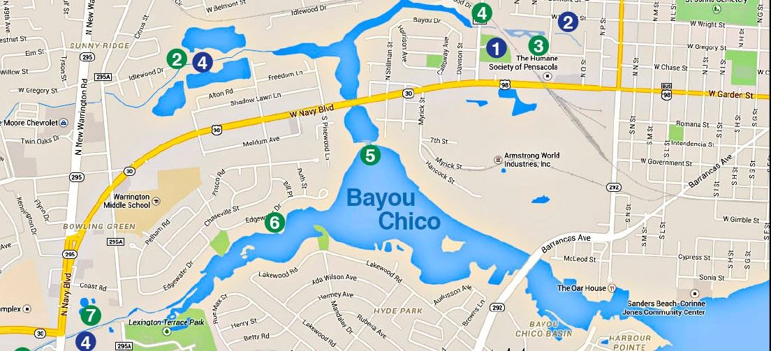 Map Showing Location of Bayou Chico