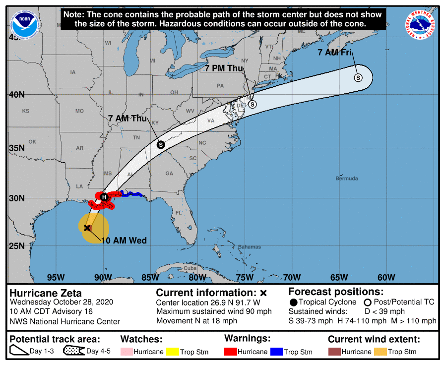 hurricane zeta wednesday afternoon forecast map