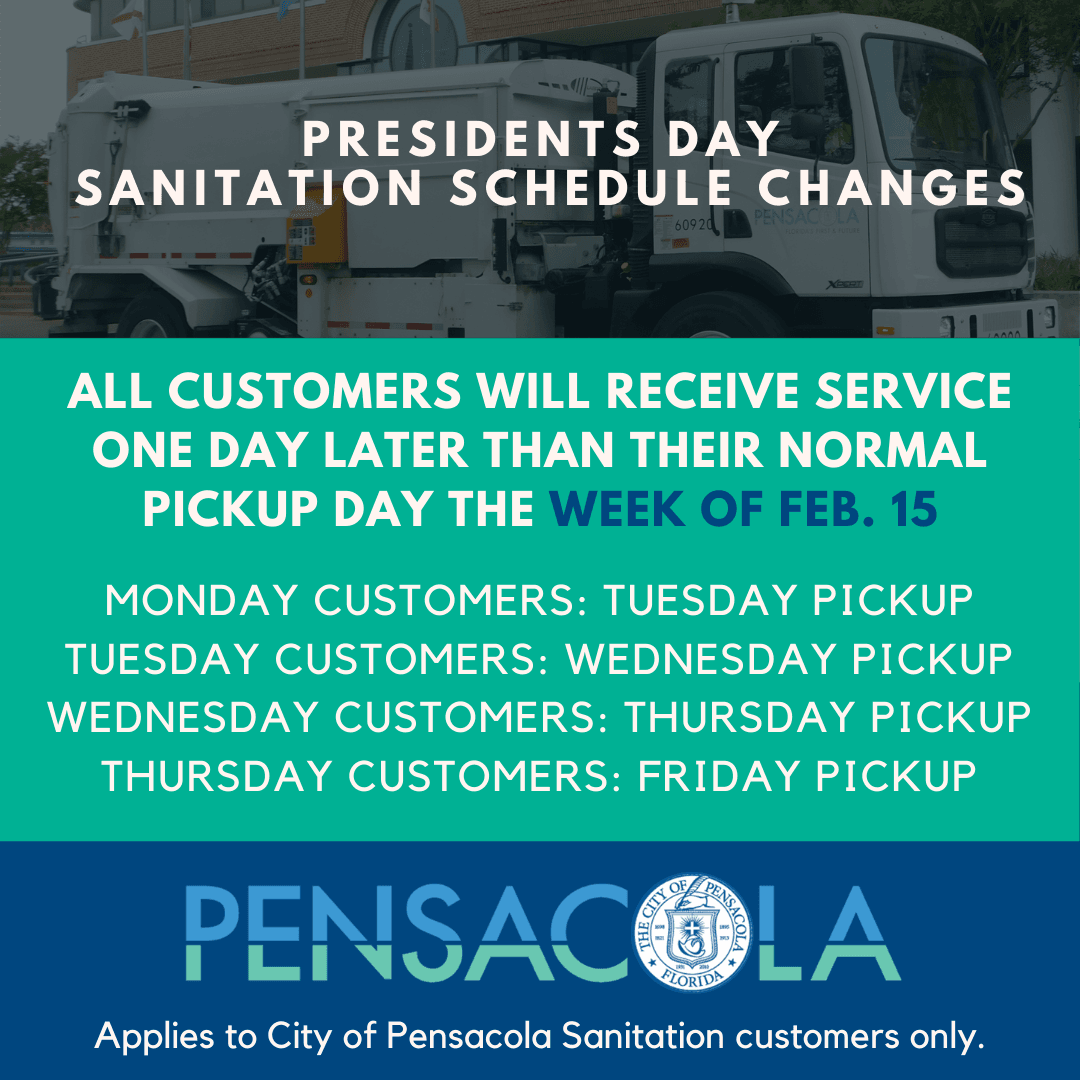 Presidents Day sanitation schedule changes